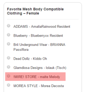 mesh bod compatible clothing female